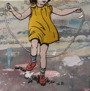 Girl Skipping on Grass