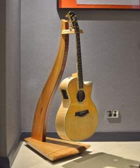 Designer Timber Guitar Stand with guitar