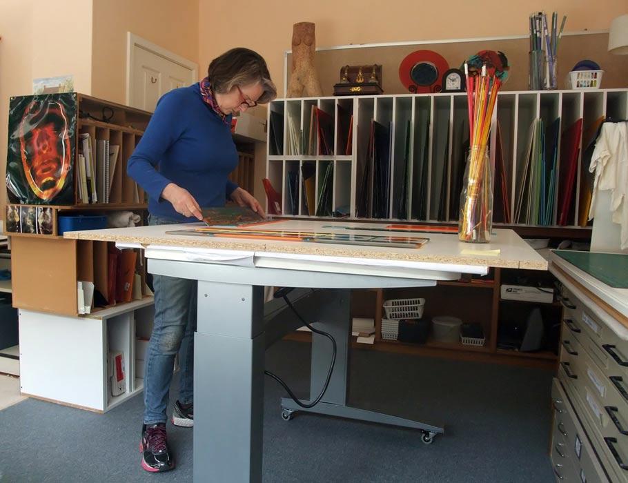 Margaret Heenan Glass Artist In Studio Making Decisions