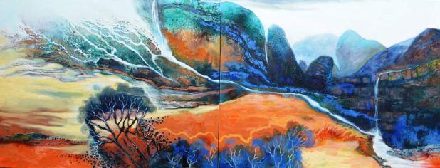 Astrid-Dahl-Winter-Melting-into-Spring-Diptych-80x100cmx2