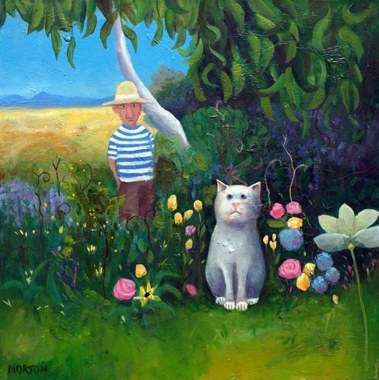 Helen-Norton-White-Cat-In-Flower-Garden-painting