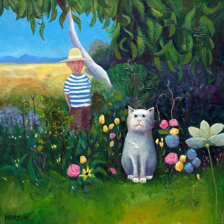 Helen-Norton-White-Cat-In-Flower-Garden-painting