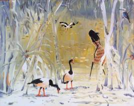 Girl With Magpie Geese - SOLD