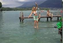 slackline estivale au lac d'Annecy
