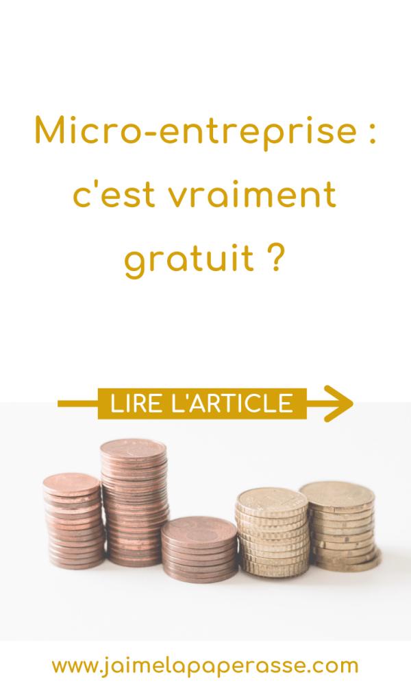 Micro-entreprise : c'est vraiment gratuit ? Pas tout à fait... Article de J'aime la paperasse #argent #microentreprise #autoentrepreneur