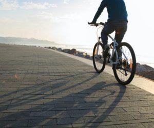 Riding bike on seaside