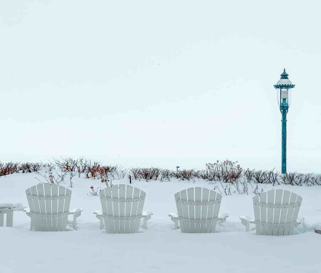 Adirondak chairs on the front lawn of Stafford's Perry Hotel. Just imagine when it isn't covered in snow!