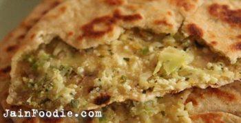 Jain Cabbage And Peas Paratha