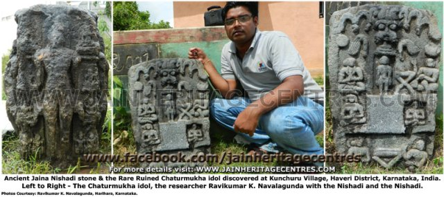Ancient Jaina Nishadhi & rare ruined Chaturmukha Idol found at Kunchuru, Haveri District, Karnataka
