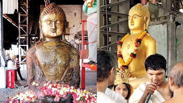 Devotees worship the idol with flowers; final touches being given to the idol made of five metals