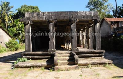 Front view of Sri Parshwanath Digambar Jain temple at Sringeri.