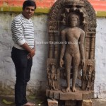 Researcher Nitin with Main deity - Lord Parshwanath Tirthankar idol
