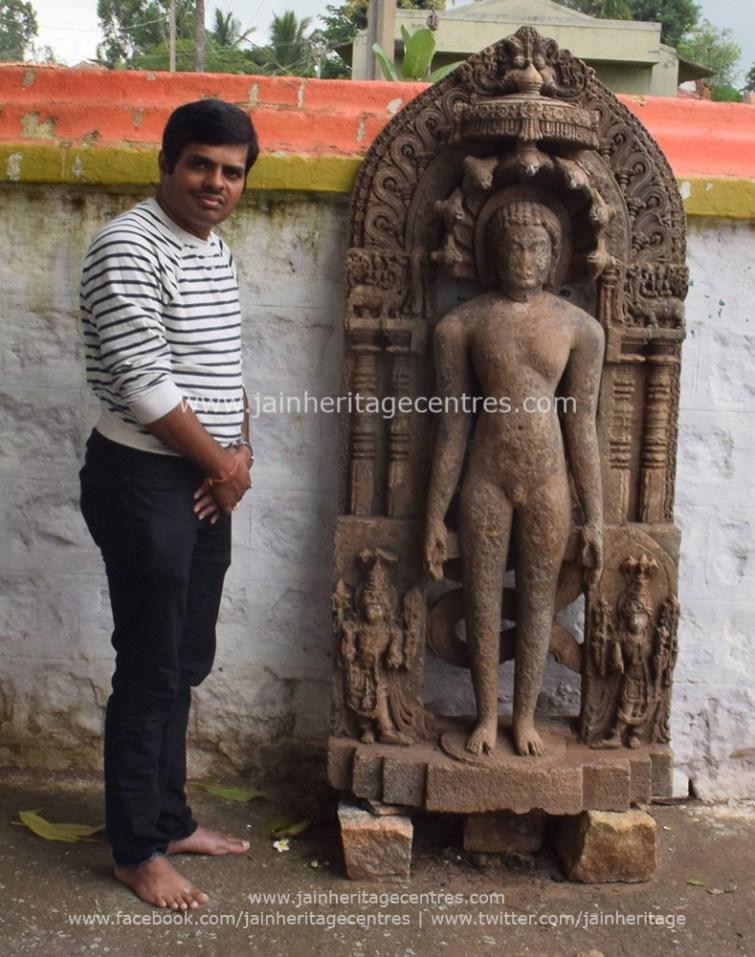 Researcher Nitin with Main deity - Lord Parshwanath Tirthankar idol
