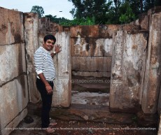 Researcher Nitin H P at Sukanasi of the temple in renovation where the 2nd inscription was found