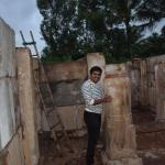 Nitin at the renovation site, Parshwanath Tirthankar Jain temple under renovation, Makodu, Mysuru district, Karnataka.