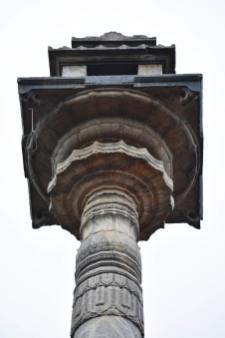 Attractive carvings just below the Mantapa in the top of Manastambha at Karkala, Udupi District, Karnataka.