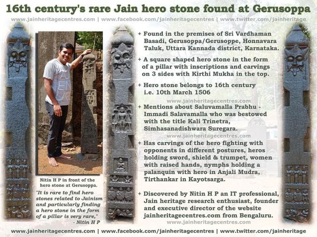 16th century's rare Jain hero stone found at Gerusoppa.