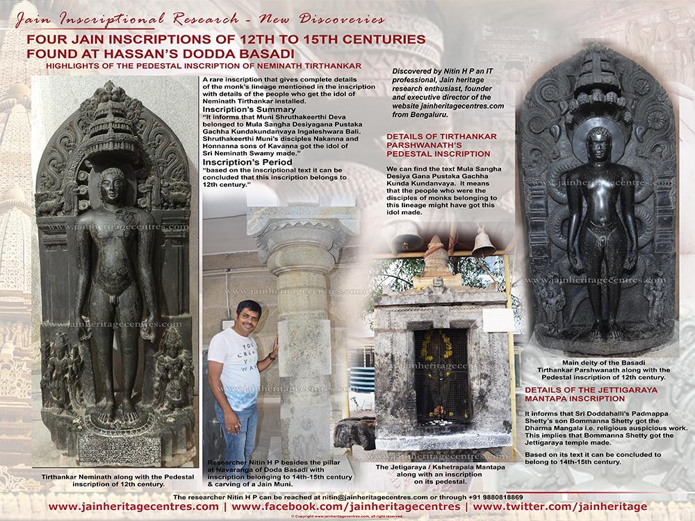 Four Jain Inscriptions of 12th to 15th Century found at Hassan's Dodda Basadi