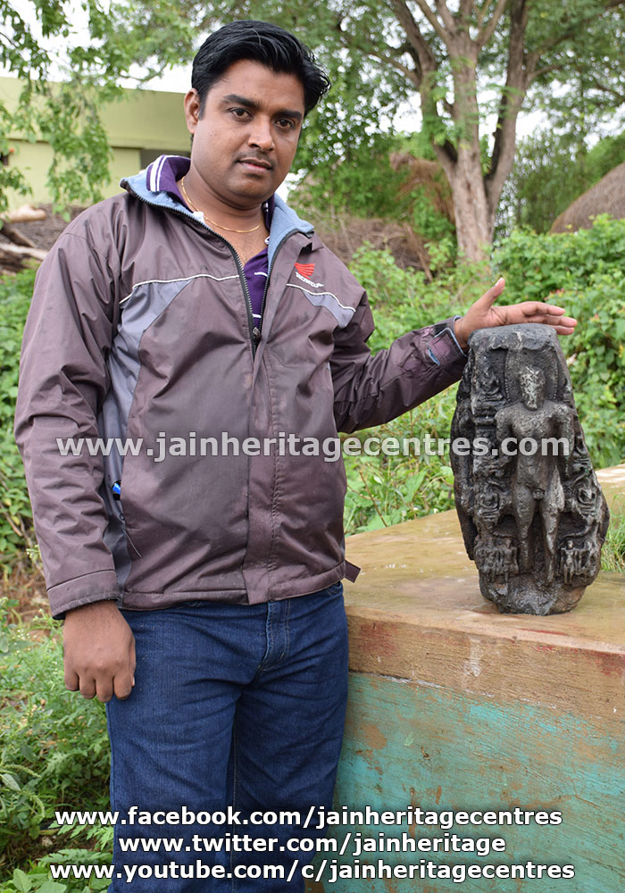 Researcher Ravikumar K Navalagunda who discovered the idol along with the Chaturmukha idol.