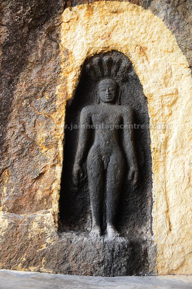 Bas-Relief of Parshwanath Tirthankar, Valathi Malai Jain Cave.
