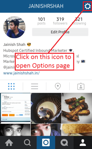 Icon to open Options page in Instagram