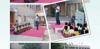 Information about traffic rules being given by Jaisalmer Traffic Police to school children
