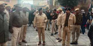 jaisalmer sp kiran kang inspecting new year celebration 2020 in city