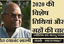 2020 astrological dates pandit dayanand shashtri