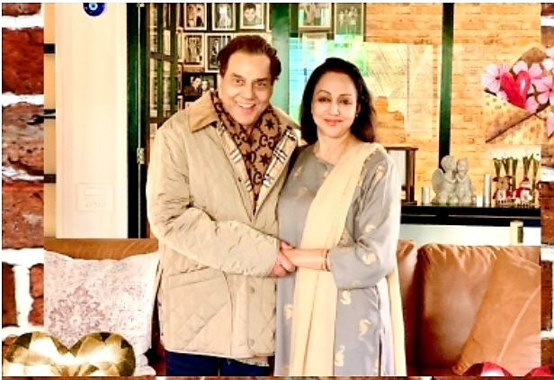 Dharmendra with Hema Malini wedding Aniversary