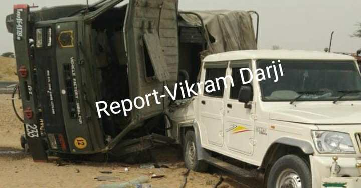 Army truck and Bolero jeep collided in Jaisalmer