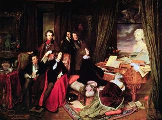 サロンでピアノを弾くLiszt 1840年.手前の女性はピアノに頭をつけて聴いている.