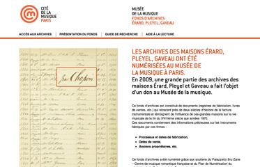 LES ARCHIVES DES MAISONS ÉRARD, PLEYEL, GAVEAU ONT ÉTÉ NUMÉRISÉES AU MUSÉE DE LA MUSIQUE À PARIS.