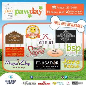 Don't worry about getting hungry at PawDay! Ranging from vegetarian meals to desserts, these are the food and beverages tenants that will be ready to serve you on Sunday at Taman Langsat, Kebayoran Baru! Tap for details #jaan #jakartaanimalaidnetwork #pawday2015 #jakartaevent #cfd #carfreeday #dogwalk #doglovers