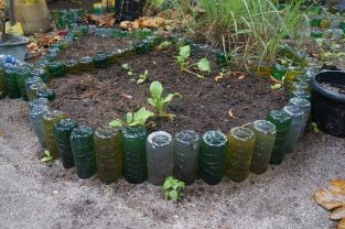Garden beds made out of plastic bottles.