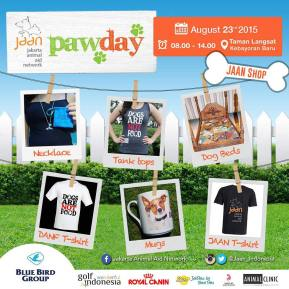 Morning guys! Don't forget to check out JAAN shop at PawDay tomorrow as well. We'll be selling JAAN t-shirts, DANF t-shirts & tank tops, whale tail necklaces, some dog beds, mugs, and more! #jaan #jakartaanimalaidnetwork #pawday #pawday2015 #jaan_pawday #animalwelfare #cfd #jakartaaevent #fundraising #charityevent