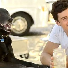 Orlando Bloom with his rescue dog Sidi.