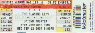 Flaming Lips Ticket!