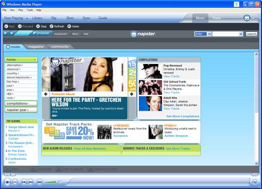 Windows Media Player 10 Napster Premium Service
