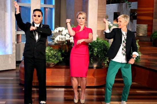 "PSY teaches Ellen and Britney ""Gangman Style"""