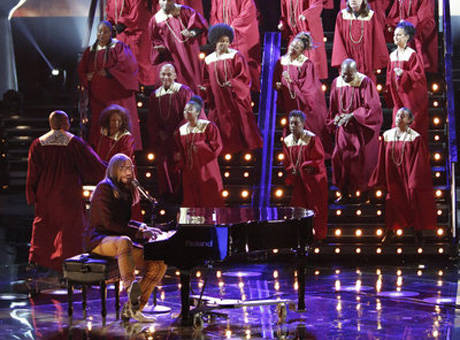 "Nicholas David's ""Lean on Me"" gave audience members chills and made his coach, CeeLo Green, emotional. (Photo property of NBC)"