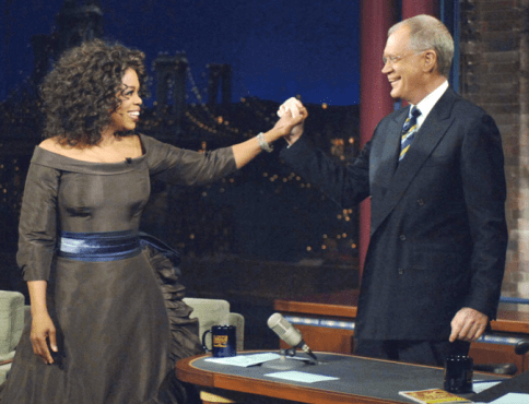 "The Queen of Talk made TV history when she returned to ""The Late Show"" after debunking a 16-year feud between herself and Mr. Letterman. (Photo property of CBS & Worldwide Pants Inc.)"
