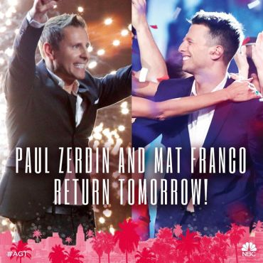 "Two fan-favorite winners Paul Zerdin and Mat Franco returned to ""America's Got Talent"" just in time for Season 11's first results show. (Photos and graphics property of NBC)"