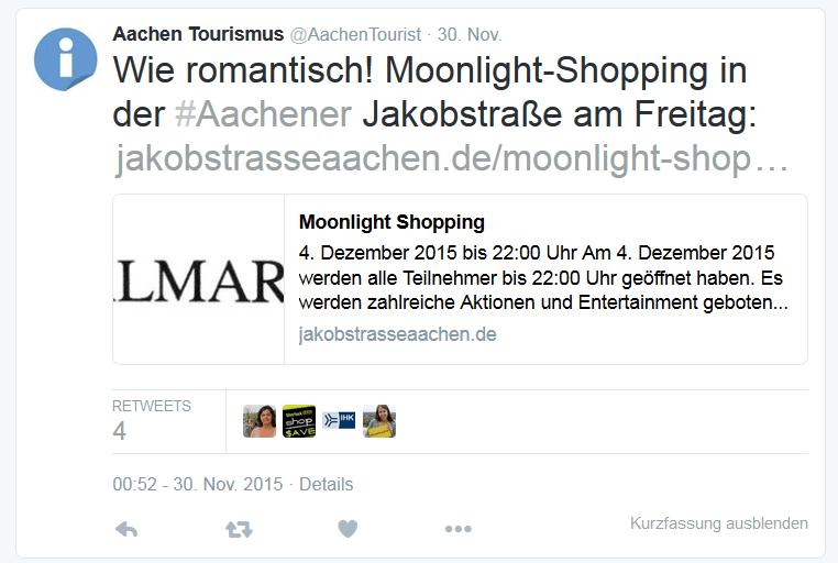 Aachen Tourismus Tweet vom 30.11.2015