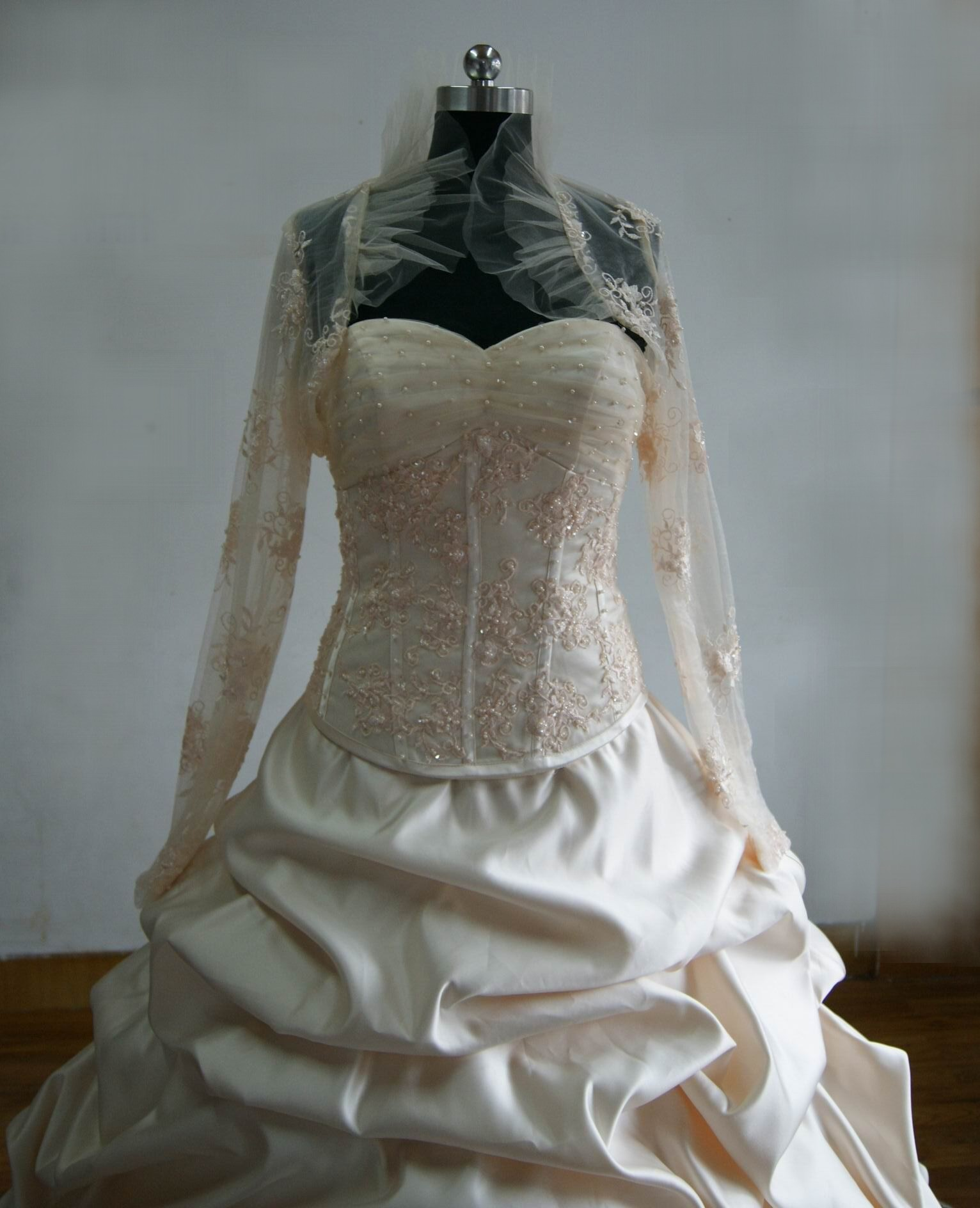 Wedding Gown With Long Sleeve Lace Shrug