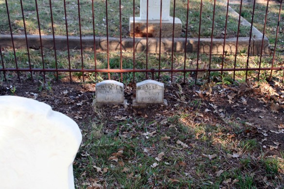 Two small Tombstones... Baker Family plot.