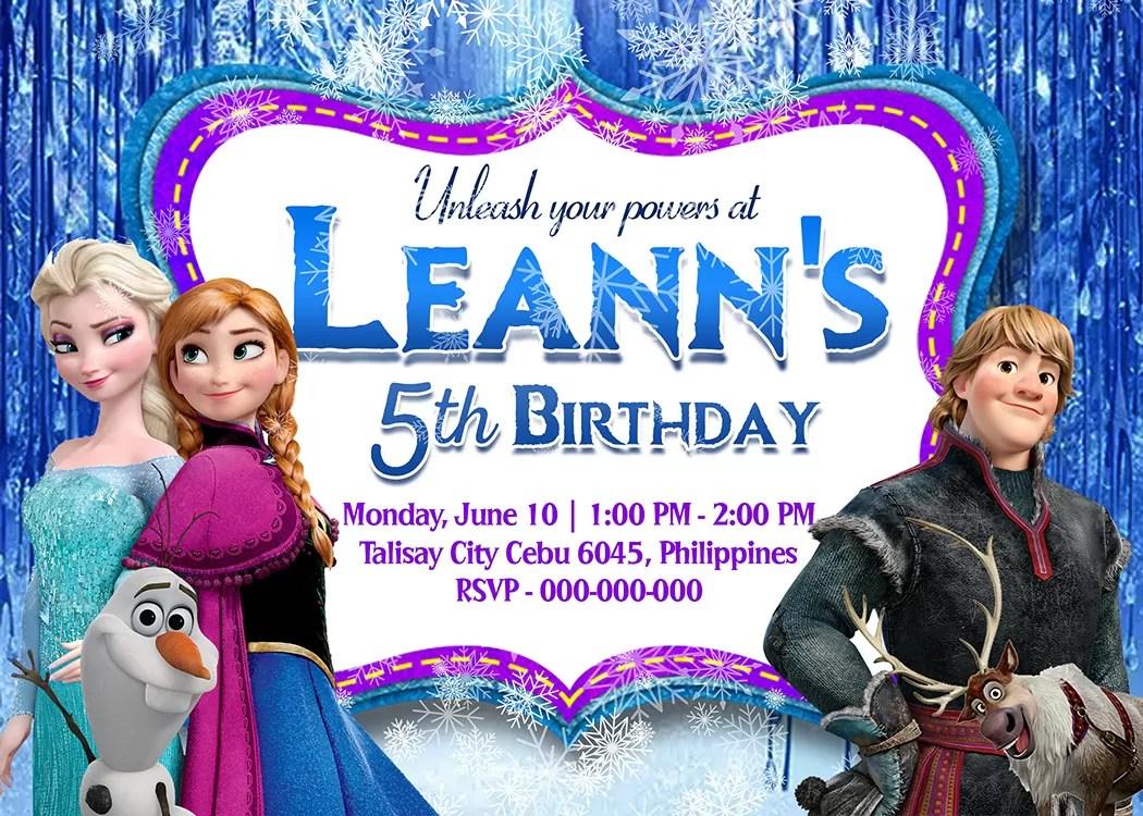 frozen birthday invitation frozen party frozen printable digital download free shipping