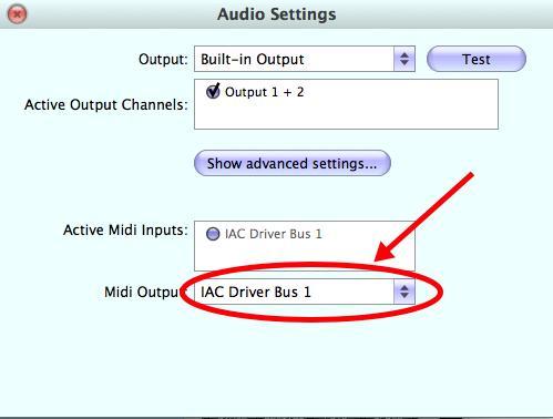 Set MIDI output to AAC Driver Bus