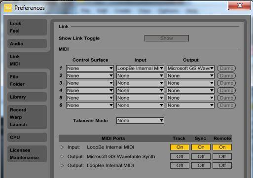 Set LOOP BE as the MIDI input