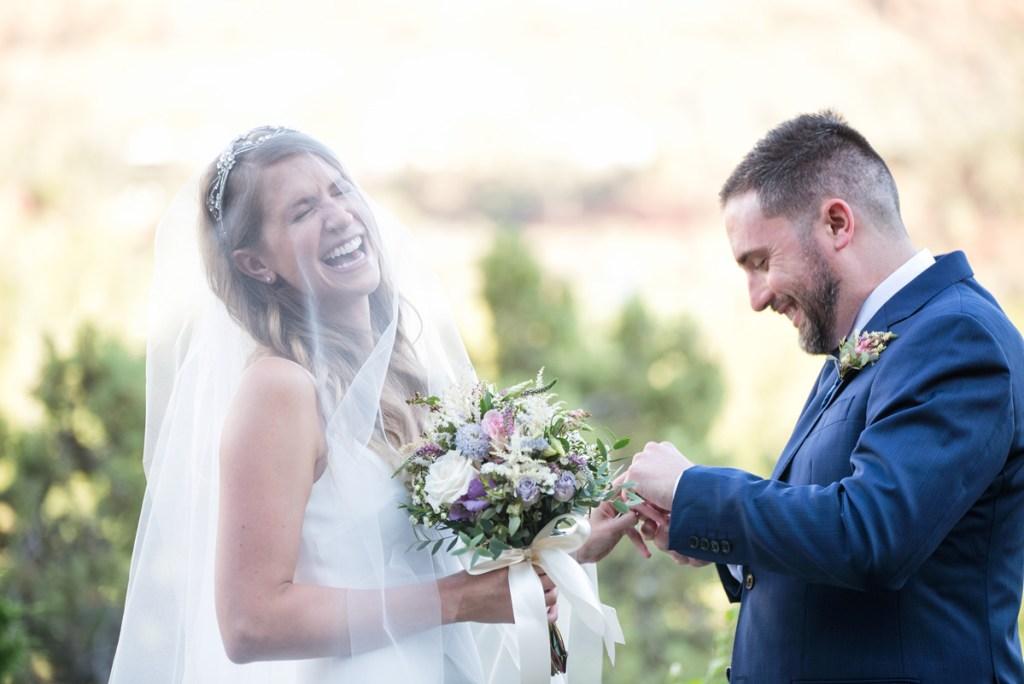 Sedona wedding ceremony laughter