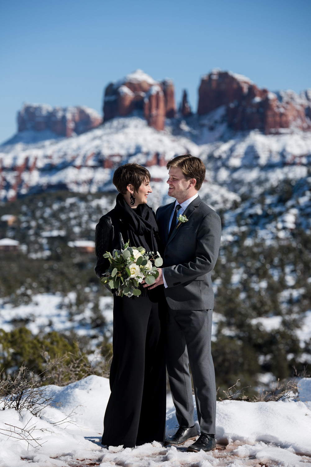 Sedona snowy winter elopement wedding